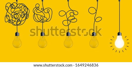 Creative vector illustration of simplifying complex process lightbulb on background. Art design untangled of problem, confusion clarity, path vector idea concept. Abstract straight, curve streamlining ストックフォト ©