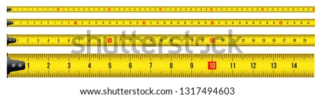 Creative vector illustration of tape measure, measuring tool, ruler, meter isolated on transparent background. Art design roulette template. Abstract concept graphic element ストックフォト ©