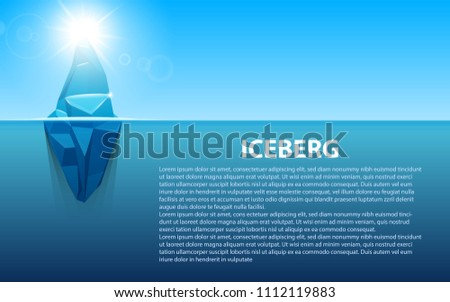 Stock Photo Creative vector illustration of under water antarctic ocean iceberg. Art design infographic template. Hidden danger of global warming of Abstract concept graphic for business metaphor polar element
