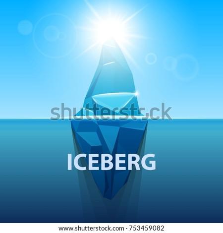 Stock Photo Creative vector illustration of under water antarctic ocean iceberg. Art design infographic template. Hidden danger of global warming of Abstract concept graphic for business metaphor polar element.