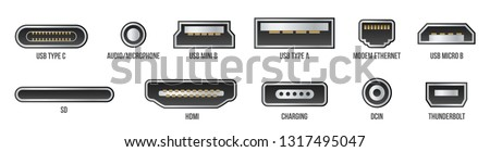 Creative vector illustration of usb computer universal connectors icon symbol isolated on transparent background. Mini, micro, lightning, type A, B, C plugs design. Abstract concept graphic element Stock photo ©