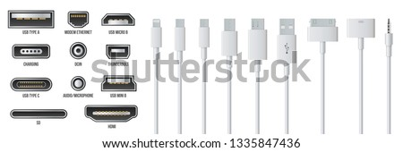Creative vector illustration of usb computer universal connectors icon symbol isolated on transparent background. Mini, micro, lightning, type A, B, C plugs design. Abstract concept graphic element