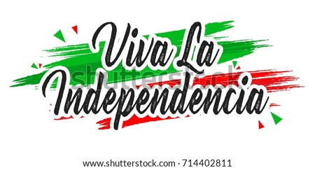 Creative vector illustration of Viva Mexico, traditional mexican phrase holiday, lettering vector illustration #714402811