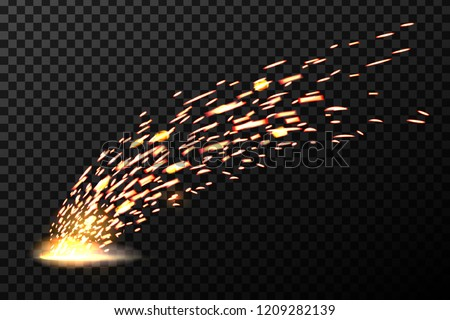 Creative vector illustration of welding metal fire sparks isolated on transparent background. Art design during iron cutting template. Abstract concept graphic weld element