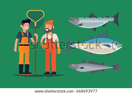 Creative vector illustration on commercial fishermen wearing waterproof overalls, rubber boots and gloves. Main commercial sea fish types such as salmon, tuna and hake