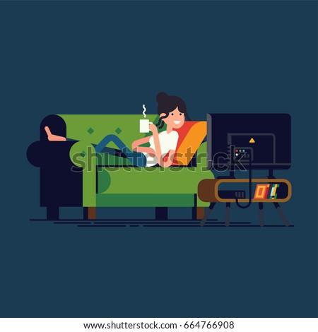 Creative vector illustration on woman lying on green sofa watching TV shows drinking coffee or tea