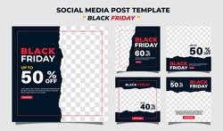 Creative vector modern black friday sale social media post template  banner collection.