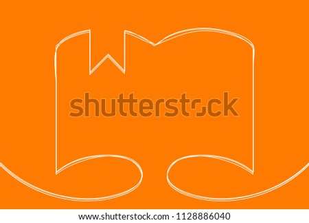 Creative vector open book. One line style illustration