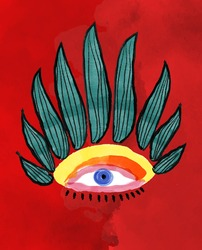 Creative vector painting of an ornamental evil seeing mystic eye shape. Conceptual abstract picture of the eye. Watercolor, oil, acrylic and ink painting in colorful colors.