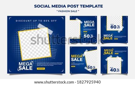 Creative vector premium fashion sale social media post template collection.