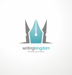 Creative vector symbol for article writing. Logo design template with crown and pen. Promotional icon shape for book editors and writers.