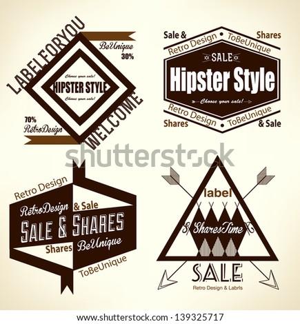Creative vintage hipster flat set, fashion, advertising, street life, design concept