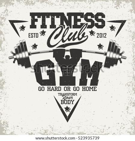 Creative vintage t-shirt graphic design,  grange print stamp, fitness typography emblem,  gym sports logo, Vector