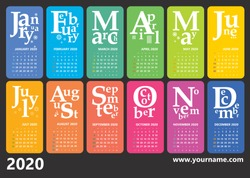 Creative wall calendar 2020 with rainbow jazzy design and type composition. Weeks starts sunday, editable vector. Classic grid, english language.