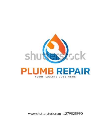 Creative  Water plumb repair logo design template Vector illustration Photo stock ©