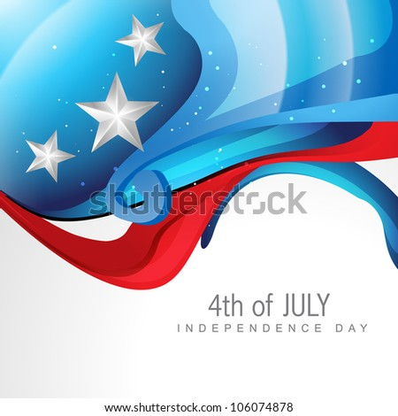creative wave style 4th of july background
