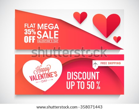 Shutterstock Creative website header or banner set of Mega Sale with Flat Discount Offer for Happy Valentine's Day celebration.