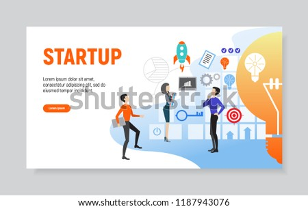 Creative website template of web page for startup, vector illustration - Shutterstock ID 1187943076