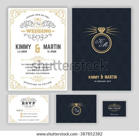 Creative wedding invitations with flourish and twirls design template. Luxury frame elements and background. RSVP card, Gift tags, Thank you card. Vector illustration