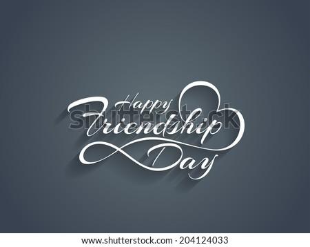 Creative white color happy friendship day text design element. vector illustration