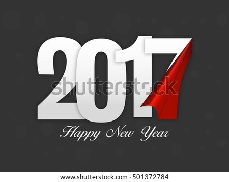 creative white text 2017 on grey background greeting card design for happy new year celebration