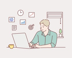 Creative worker using digital devices and programs in project. Hand drawn style vector design illustrations.
