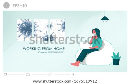 Creative working from home illustration concept for employees who may be at risk of being exposed to coronavirus. Social distancing effect of coronavirus epidemic to people business and public worker.