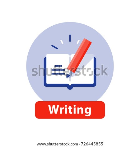 Creative writing and storytelling, education concept, opened book, school study, learning subject, book review summary, vector icon, flat illustration
