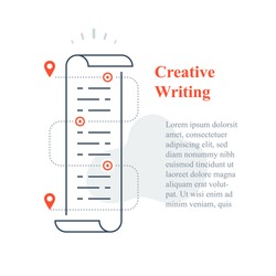 Creative writing concept, copywriting or storytelling course, paper scroll, text edit, fast reading, article content, book summary, vector line icon