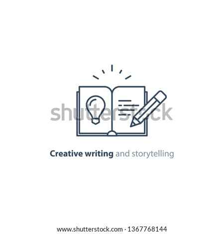 Creative writing concept, storytelling, content management, assay composition, education book, vector mono line icons Stockfoto ©