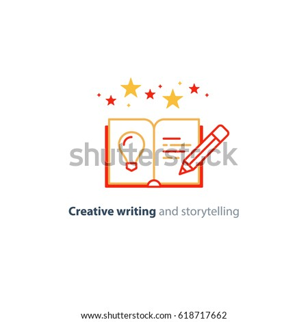 Creative writing concept, storytelling, content management, assay composition, education book, vector mono line icons