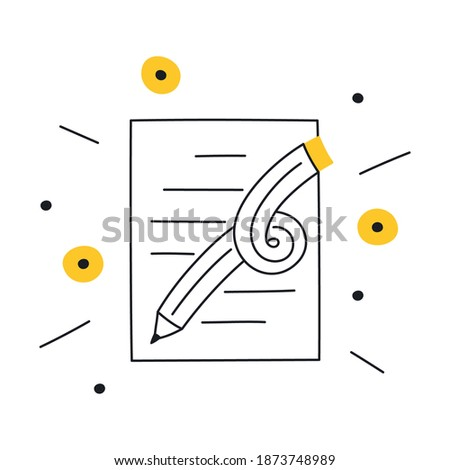 Creative writing, storytelling, content creation, copywriting. A graphic pencil with cute lines symbolizes creativity. Flat line elegant vector illustration on white.