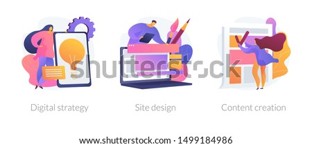 Creative writing, web development and mobile advertising flat icons set. Outbound marketing. Digital strategy, site design, content creation metaphors. Vector isolated concept metaphor illustrations