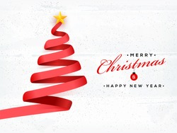 Creative Xmas tree made by red ribbon on white textured background for Merry Christmas and New Year celebration concept.