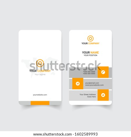 Creative  Yellow Color Corporate vertical business card templat Template For Commercial Use. eps 10