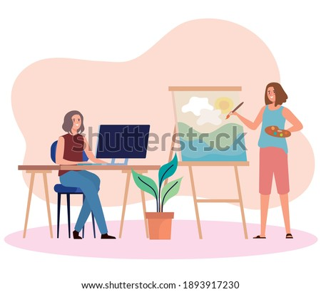 creative young women using computer and painting picture characters vector illustration design