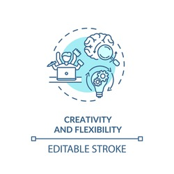 Creativity and flexibility concept icon. Employee multitasking. Good lawyer requirement. Creative thinking idea thin line illustration. Vector isolated outline RGB color drawing. Editable stroke