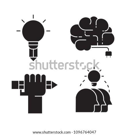 creativity and smart thinking icons set