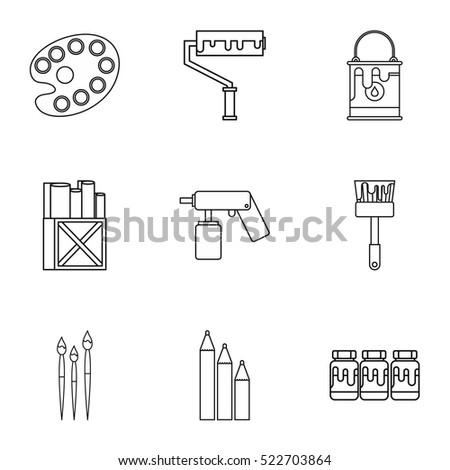 Creativity art icons set. Outline illustration of 9 creativity art vector icons for web