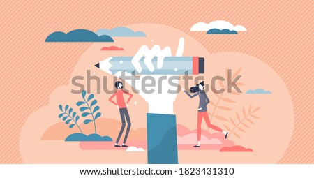 Creativity as writer imagination thinking implementation tiny person concept. Redactor, editor or intelligence art author creative work process scene with abstract writing power pose with fist and pen