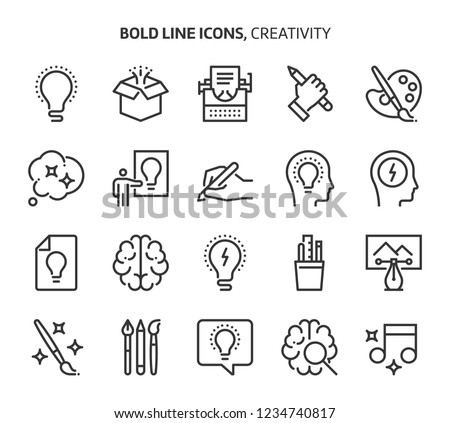 creativity  bold line icons