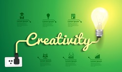 Creativity concept modern design template, Light bulb idea abstract infographic workflow layout, diagram, step up options, Vector illustration