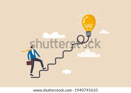 Creativity for business idea, thinking and brainstorm for new idea or opportunity, career path or goal achievement, businessman start walking on electricity line as stairway to big idea lightbulb.