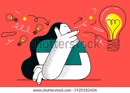 Creativity, genius, new idea concept. Thoughtful student girl holding hand under chin thinking for solution gathering ideas for best decision vector illustration Foto stock ©