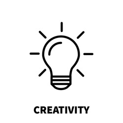 Creativity icon or logo in modern line style. High quality black outline pictogram for web site design and mobile apps. Vector illustration on a white background.