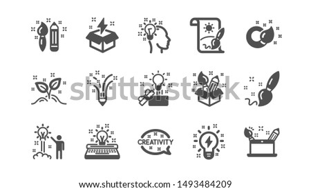 Creativity icons. Creative designer, Idea and Inspiration. Brush and pencil classic icon set. Quality set. Vector