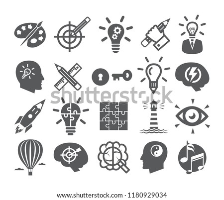 Creativity icons set. Icons for inspiration, idea, brain, imagination, problem solving, mind power.