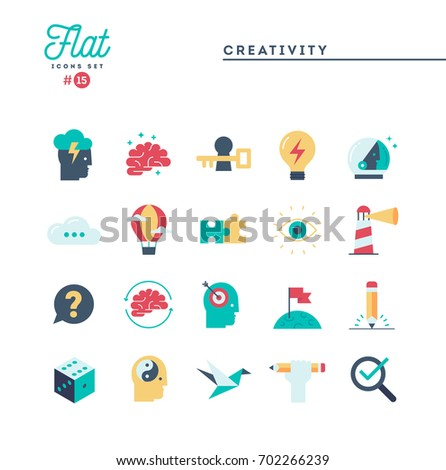 Creativity, imagination, problem solving, mind power and more, flat icons set, vector illustration