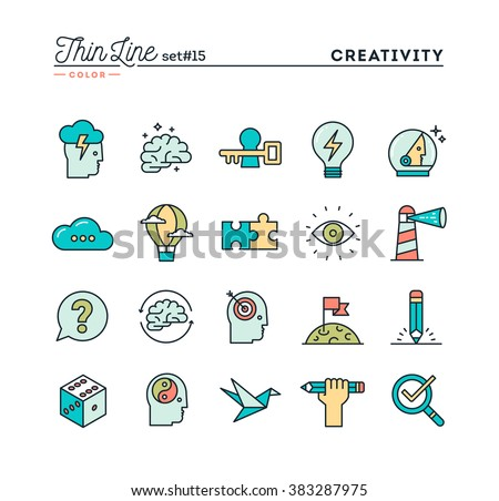 Creativity, imagination, problem solving, mind power and more, thin line color icons set, vector illustration