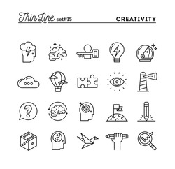 Creativity, imagination, problem solving, mind power and more, thin line icons set, vector illustration